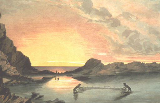 Coast Scene near Rapid Bay, Sunset, Natives Fishing with Nets, 1847, G. F. Angas (AGSA)