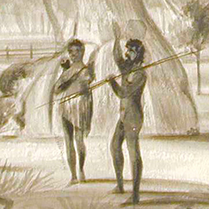 Aborigines near a gum tree,  J. M. Skipper, 1837 (detail) (AGSA Collection)