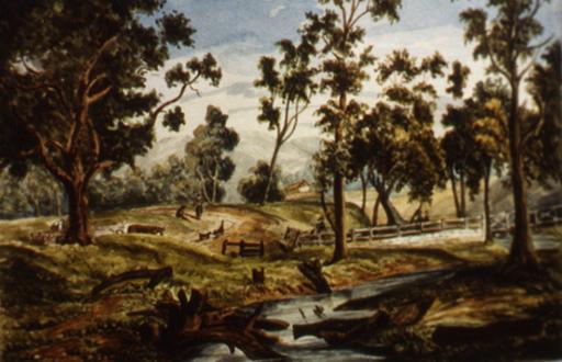 Torrens Bridge, M. Berkeley c1842 (Image, Borrow Collection, Flinders University)