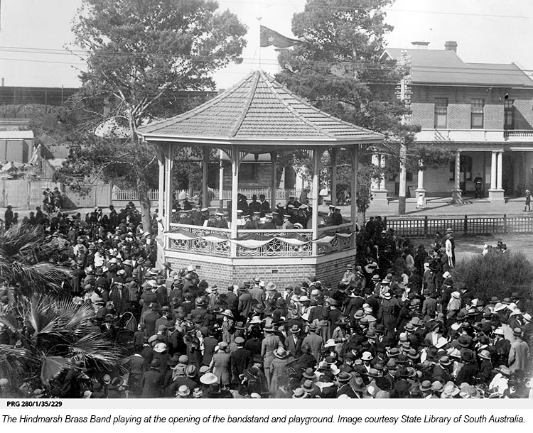 The Hindmarsh Brass Band playing at the opening of the bandstand and playground - Image courtesy State Library of South Australia