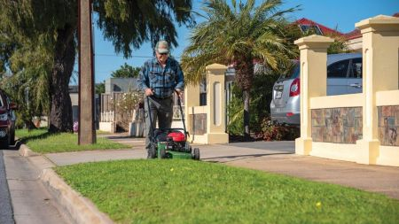 Ricky mowing his verge