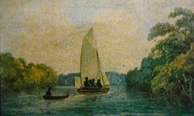 Hatchboat in the Port River, 1836, Col. W. Light (NLA F512)