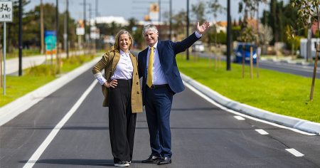 Photo credit: City of Charles Sturt Mayor Angela Evans and City of West Torrens Mayor Michael Coxon - John Kruger Photography