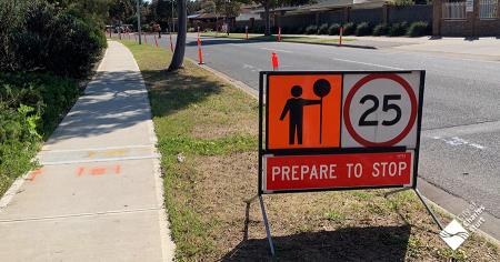 Roadworks ahead, slow down
